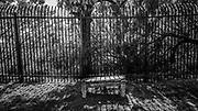 Border fence along the perimeter of Laredo Community College's campus, Laredo, Texas