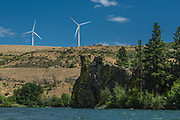 Wind turbines, Yakima River corridor, Kittitas County, Washington, USA