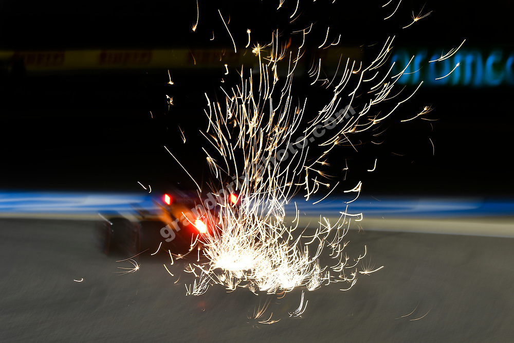Sparks fly from Lando Norris (McLaren-Mercedes) during practice for the 2021 Bahrain Grand Prix. Photo: Grand Prix Photo