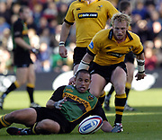 Northampton, Northamptonshire, 2nd October 2004 Northampton Saints vs London Wasps, Zurich Premiership Rugby, Franklyn Gardens, [Mandatory Credit: Peter Spurrier/Intersport Images],<br /> Saints Shane Drahm collects the loose ball, WaspsPeter Richards, contesting.