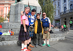 Scotland fans in kilts in Ljubljana during the 2018 FIFA World Cup Qualifying Group F match at Stadion Stozice, Ljubljana.