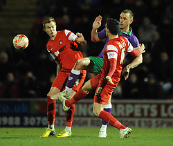 Bristol City's Aaron Wilbraham challenges for the ball with Leyton Orient's Mathieu Baudry and Leyton Orient's Ryan Hedges - Photo mandatory by-line: Dougie Allward/JMP - Mobile: 07966 386802 - 03/03/2015 - SPORT - football - Leyton - Brisbane Road - Leyton Orient v Bristol City - Sky Bet League One