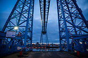 Tees Transporter Bridge crossing the River Tees in Middlesbrough, North Yorkshire, United Kingdom. The bridge has recently become one of the UK's major sites for extreme sports, such as abseiling and bungee jumps.