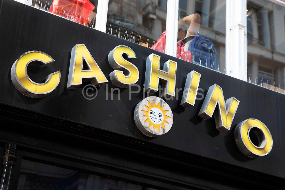 Sign for the gambling brand Cashino in Birmingham, United Kingdom.