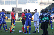 coin toss during the UEFA European Under 17 Championship 2018 match between England and Israel at Proact Stadium, Whittington Moor, United Kingdom on 4 May 2018. Picture by Mick Haynes.