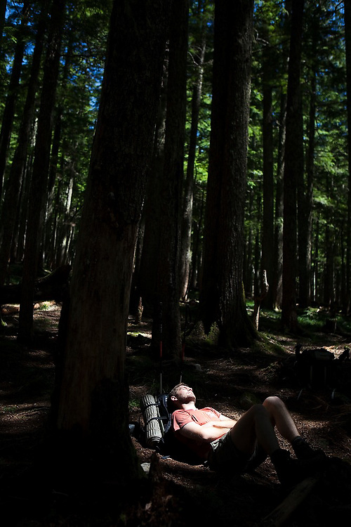 Hiker Erik Greensfelder naps in a sun spot in the forest along the Ruckel Creek Trail, Columbia River Gorge National Scenic Area, Oregon.