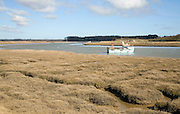 Fishing boat moored Butley Creek river, Suffolk