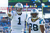 NASHVILLE, TN - NOVEMBER 15:  Jonathan Stewart #28 and Cam Newton #1 of the Carolina Panthers celebrate after scoring a touchdown against the Tennessee Titans at Nissan Stadium on November 15, 2015 in Nashville, Tennessee.  (Photo by Wesley Hitt/Getty Images) *** Local Caption *** Jonathan Stewart; Cam Newton