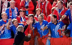 Jernej Virant and Krimovci, fans of Krim at handball match of Round 3 of Champions League between RK Krim Mercator and Hypo Niederosterreich, on November 8, 2009, in Arena Kodeljevo, Ljubljana, Slovenia.  Krim won 35:24. (Photo by Vid Ponikvar / Sportida)
