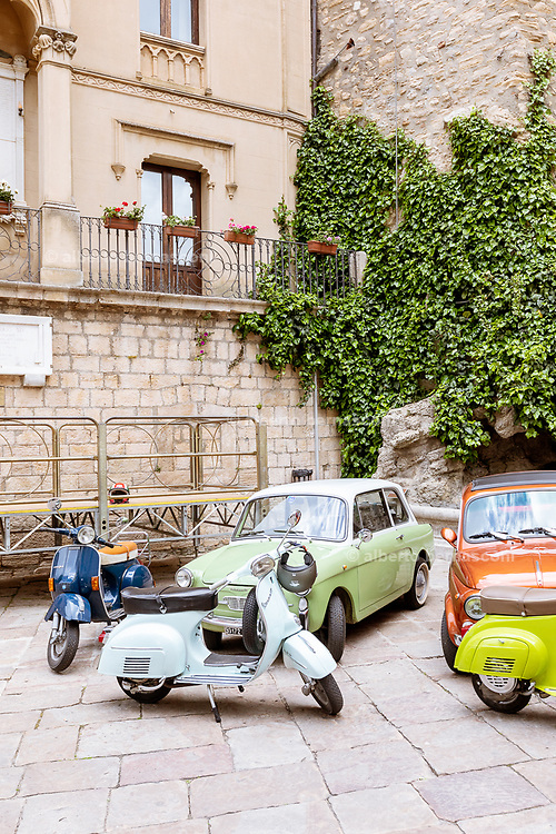 GANGI, SICILY, street scene while shooting a scene for a BBC story