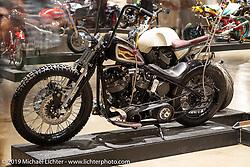 Shadetree Fabrication's Kyle Shorey's Big Money 1981 Harley-Davidson Shovelhead with wood inlays at the Handbuilt Show. Austin, TX. USA. Saturday April 21, 2018. Photography ©2018 Michael Lichter.