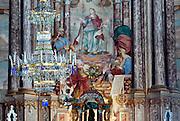 Detail of the trompe l'oeil fresco and chandelier in the Jesuit church of Sveti Katerina (Saint Catherine) in Zagreb, Croatia