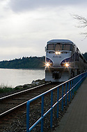 Amtrack Train by the pier in White Rock, British Columbia.