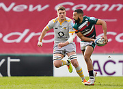 Wasps Back row Tom Willis lines up a tackle on Leicester Tigers fly-half Zack Henry during a Gallagher Premiership Round 10 Rugby Union match, Friday, Feb. 20, 2021, in Leicester, United Kingdom. (Steve Flynn/Image of Sport)