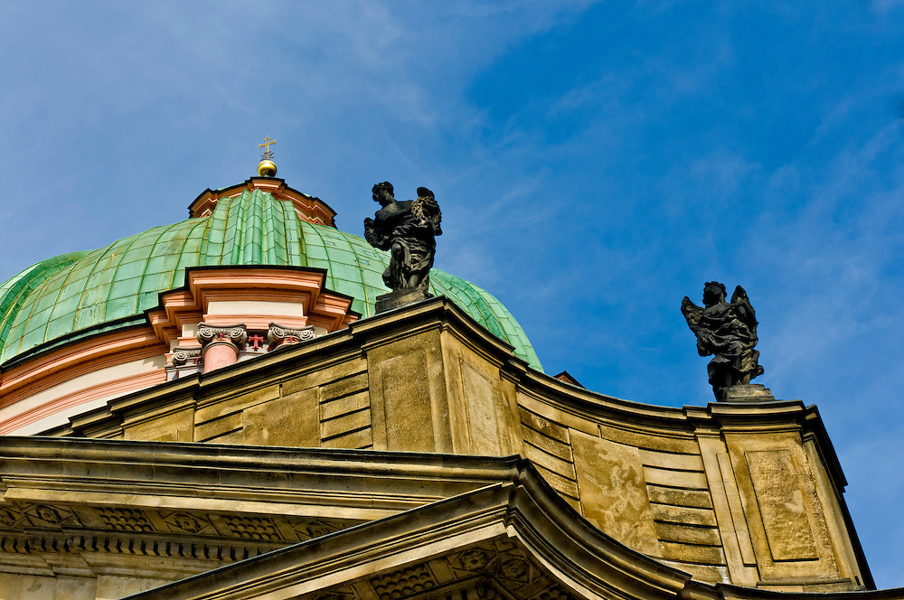 Detail view of the dome at the Church of St Francis Seraph in Prague, Czech Republic
