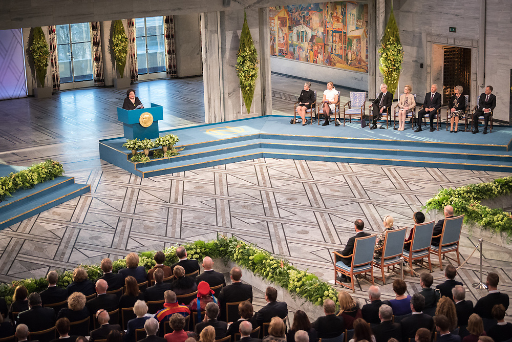 """10 December 2017, Oslo, Norway: Oslo City Hall hosts the Nobel Peace Prize award ceremony on 9-10 December 2017. The prize in 2017 goes to the International Campaign to Abolish Nuclear Weapons (ICAN), for """"its work to draw attention to the catastrophic humanitarian consequences of any use of nuclear weapons and for its ground-breaking efforts to achieve a treaty-based prohibition of such weapons"""". Here, ICAN representative and Hiroshima survivor Setsuko Thurlow."""