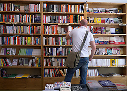 Secondhand bookshop called Shakespeare and Son in bohemian Helmholtzplatz in Prenzlauer Berg in Berlin Germany