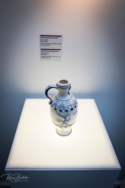 Display in the Museum of Broken Relationships in old town Gradec, Zagreb, Croatia