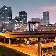 Kansas City MO skyline from West Side area near I-35 at sunrise, August 2013.