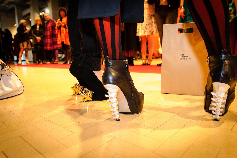 WELLINGTON, NEW ZEALAND - November 06: City Gallery Tuatara Open Late: Advanced Style judged by Kate Bryant (Ziggurat) and Chrissy O (Hunters and Collectors): November 06, 2014 in Wellington, New Zealand.  City Gallery Open Late Advanced Style.  (Photo by Mark Tantrum/ mark tantrum.com)