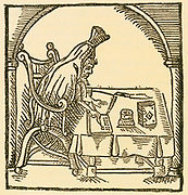 'Robert Greene (1558-1592), Elizabethan playwright, author, and critic of Shakespeare, shown writing clothed in his funeral shroud.  Woodcut after ''Greene in conceipt'', London, 1596, by John Dickenson.'