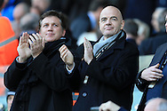 new FIFA president Gianni Infantino ® in the stand watching the game. Barclays Premier league match, Swansea city v Norwich city at the Liberty Stadium in Swansea, South Wales  on Saturday 5th March 2016.<br /> pic by  Andrew Orchard, Andrew Orchard sports photography.