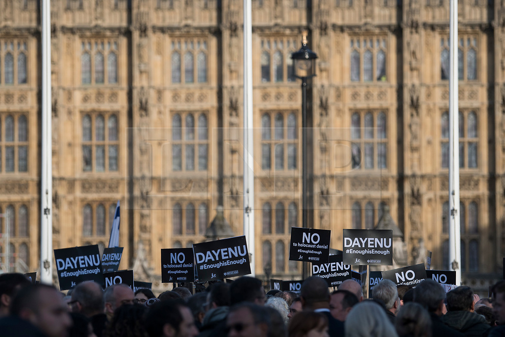 © Licensed to London News Pictures. 26/03/2018. London, UK. Members of the Jewish community, Jewish leaders and supporters hold a demonstration outside the Houses of Parliament in London against Jeremy Corbyn, who they accuse of not acting on anti-semitic behaviour in the Labour Party. Photo credit: Ben Cawthra/LNP
