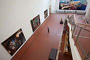 Visitors looking at the paintings in the Gallery museum Ludwig, Cologne.