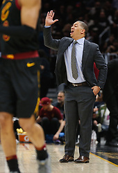 April 18, 2018 - Cleveland, OH, USA - Cleveland Cavaliers head coach Tyronn Lue coaches from the sideline as the Cavs get back on offense against the Indiana Pacers in the fourth quarter in Game 2 of a first-round NBA playoff series on Wednesday, April 18, 2018, at the Quicken Loans Arena in Cleveland. The Cavs won, 100-97, to even the series. (Credit Image: © Leah Klafczynski/TNS via ZUMA Wire)