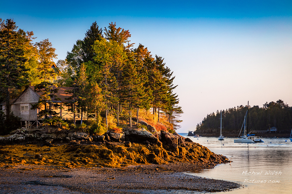 """TO PURCHASE: Simply click """"Add to Cart"""" to see prints and products available.<br /> <br /> Mt Desert Island is located off the coast of the great state of Maine.<br /> It's notorious for hosting the stunning Acadia National Park.<br /> <br /> But outside of the park Mt. Desert Island has a stunning landscape and lifestyle all to it's own that often gets lumped all together with the park.<br /> <br /> This image was captured from Bass Harbor Village as the sun set over Bernard, Maine.<br /> <br /> Camera Data:<br /> f/9, 1/25sec, 70mm, ISO100<br /> RAW, Manual Mode, Evaluative Metering<br /> Tripod, Bare Glass, Lr<br /> Canon 5ds, Canon EF 24-105mm<br /> <br /> High Image Resolution"""