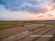 63801-08915 Soybean Harvest, 2 John Deere combines harvesting soybeans - aerial - Marion Co. IL