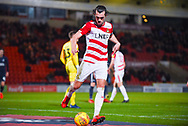 John Marquis of Doncaster Rovers (9) collects the ball from behind the goal in preparation for a corner kick during the EFL Sky Bet League 1 match between Doncaster Rovers and Southend United at the Keepmoat Stadium, Doncaster, England on 12 February 2019.