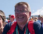 "Rio de Janeiro. BRAZIL.   GBR  Men's Head Coach, Jürgen Gröbler, watch's from the stand, as his Men's Eight pick up the men's Eights Gold medal.  2016 Olympic Rowing Regatta. Lagoa Stadium,<br /> Copacabana,  ""Olympic Summer Games""<br /> Rodrigo de Freitas Lagoon, Lagoa.   Saturday  13/08/2016 <br /> <br /> [Mandatory Credit; Peter SPURRIER/Intersport Images]"