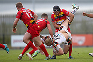 Bradford Bulls loose forward Damian Sironen (10) is dumped to the ground in the tackle during the Kingstone Press Championship match between Dewsbury Rams and Bradford Bulls at the Tetley's Stadium, Dewsbury, United Kingdom on 10 September 2017. Photo by Simon Davies.