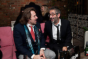 JONATHAN ROSS; DAVID BADDIEL, InStyle's Best Of British Talent Party in association with Lancome. Shoreditch HouseLondon. 25 January 2011, -DO NOT ARCHIVE-© Copyright Photograph by Dafydd Jones. 248 Clapham Rd. London SW9 0PZ. Tel 0207 820 0771. www.dafjones.com.