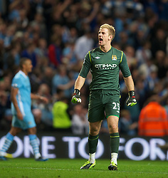 MANCHESTER, ENGLAND - Monday, April 30, 2012: Manchester City's goalkeeper Joe Hart celebrates his side's 1-0 victory over rivals Manchester United during the Premiership match at the City of Manchester Stadium. (Pic by David Rawcliffe/Propaganda)