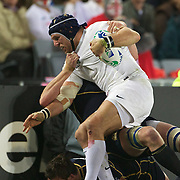 James Haskell, England, is tackled during the England V Scotland Pool B match during the IRB Rugby World Cup tournament. Eden Park, Auckland, New Zealand, 1st October 2011. Photo Tim Clayton...