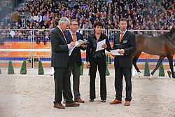 Jury Dressuurhengsten Wim Versteeg, Ernes Wim, Dorresteijn Marian, Van Woudenbergh Reijer<br /> KWPN Hengstenkeuring - 's Hertogenbosch 2013<br /> © Dirk Caremans
