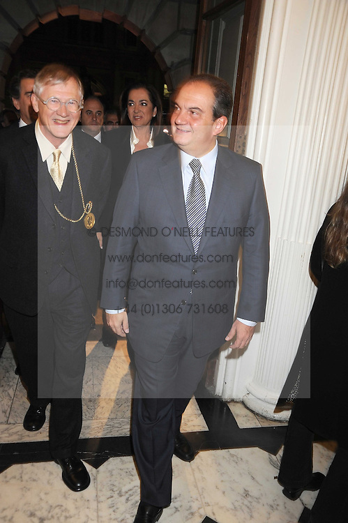 Left to right, SIR NICHOLAS GRIMSHAW and The Prime Minister of Greece KOSTAS KARAMANLIS at the opening of the Royal Academy of Arts Byzantium 330-1453 exhibition held at the RA, Burlington House, Piccadilly, London on 21st October 2008.