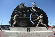 """CHICAGO, IL-APRIL 14:  Pictured is the """"Champions Plaza"""" and """"Championship Moments"""" monument , which is located outside the main entrance of U.S. Cellular Field, the home of the Chicago White Sox.  The monument celebrates key moments related to the 2005 White Sox post season journey to the World Series."""