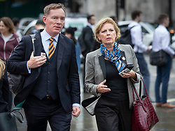 © Licensed to London News Pictures. 26/09/2019. London, UK. Labour MP Chris Bryant walks to Parliament with Change UK MP Anna Soubry. The Supreme Court has ruled that Parliament had been suspended illegally. British Prime Minster Boris Johnson prorogued parliament just weeks before the UK is due to leave the EU on October 31st. Photo credit: Peter Macdiarmid/LNP