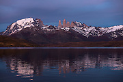 Lago Pehoe with Horns of Torres del Paine in back<br /> Torres del Paine National Park<br /> Patagonia<br /> Magellanic region of Southern Chile<br /> ENDEMIC to southern South America
