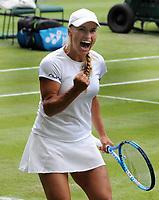Tennis - 2019 Wimbledon Championships - Week One, Monday (Day One)<br /> <br /> Women's Singles, 1st Round: Yulia Putintseva (KAZ) v Naomi Osaka (JPN)<br /> <br /> Yulia Putintseva celebrates on Centre Court <br /> <br /> COLORSPORT/ANDREW COWIE