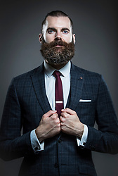 Matthew Swain attends the fourth British Beard and Moustache Championships at the Empress Ballroom, Winter Gardens, Blackpool.