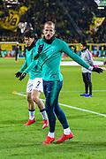Tottenham Hotspur forward Harry Kane (10) and Tottenham Hotspur forward Heung-Min Son (7) warm up ahead of the Champions League round of 16, leg 2 of 2 match between Borussia Dortmund and Tottenham Hotspur at Signal Iduna Park, Dortmund, Germany on 5 March 2019.