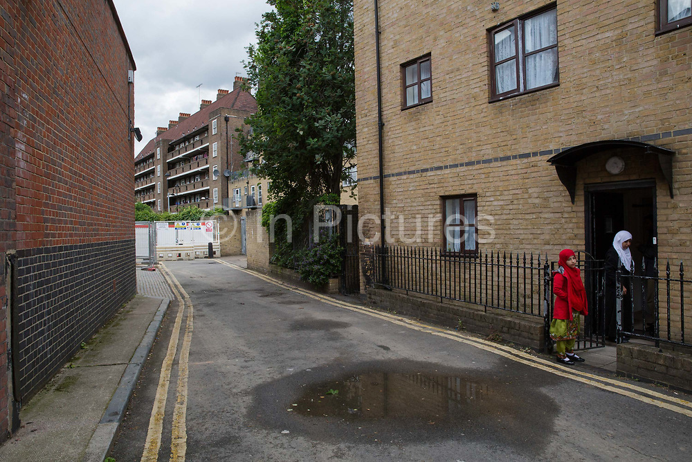 Somers Town on 1st July 2016 in London, United Kingdom. Somers Town, a district in north west London, is a large housing estate nestled between Euston, St Pancras and Kings Cross Library. Predominantly filled with social housing for the past 200 years, much of the area's housing was built in the twentieth century by the local authority.
