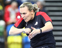 February 23, 2018 - London, England, United Kingdom - Kelly SIBLEY of England .during 2018 International Table Tennis Federation World Cup match between Kelly SIBLEY of England  against Mengyu YU of Singapore  at Copper Box Arena, London  England on 23 Feb 2018. (Credit Image: © Kieran Galvin/NurPhoto via ZUMA Press)