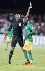 17032018 (Durban) Sandile Zuke of Arrows leaves the field after receiving a red card when Orlando Pirates walloped Golden Arrows 2-1 at the ABSA premier league encounter at Princess Magogo Staduim, in Kwa-Mashu, Durban. Pirates has advance their league position to number 2 with 41 points after Sundowns with 42 points lead.<br /> Picture: Motshwari Mofokeng/African New Agency/ANA