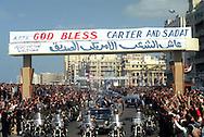 A 28 MG IMAGE OF:president Jimmy Carter visits Anwar Sadat in Egypt.Parade arrive in Alexandria<br /> <br /> Photo by Dennis Brack  C B