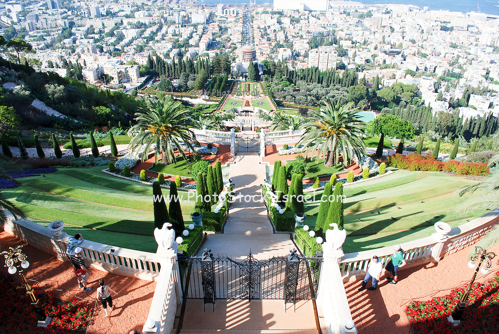 Israel, Haifa, The Bahai Gardens. Haifa port and bay of Haifa in the background.